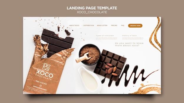 Modelo de página de destino de chocolate doce Psd grátis