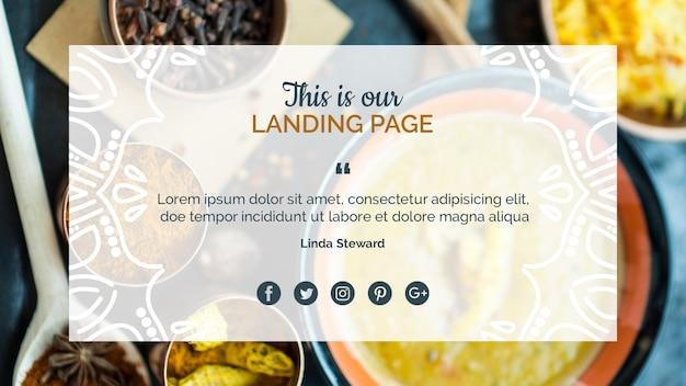 Modelo de página de destino de comida indiana Psd grátis