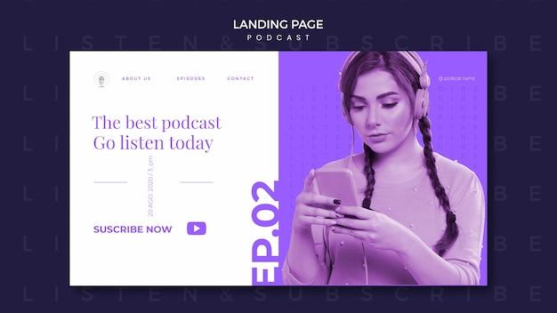 Modelo de página de destino de conceito de podcast Psd grátis
