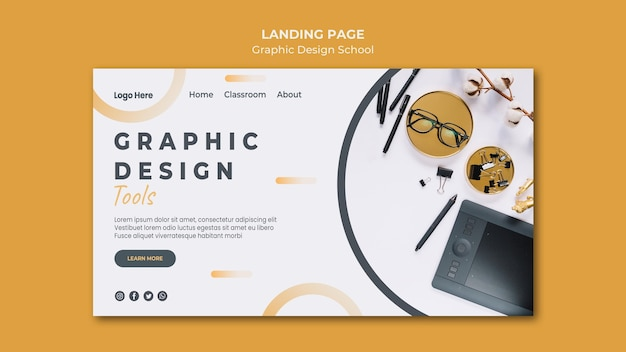 Modelo de página de destino de design gráfico Psd grátis
