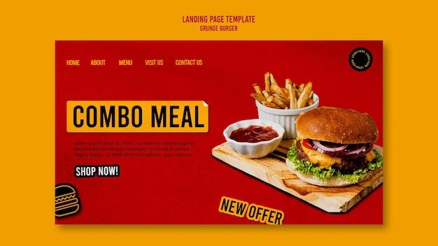 Modelo de página de destino de hambúrguer grunge Psd grátis