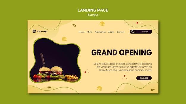Modelo de página de destino de hambúrguer Psd grátis