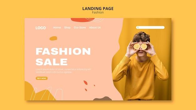 Modelo de página de destino de moda masculina de venda Psd grátis