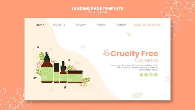 Modelo de página de destino de produtos livres de crueldade Psd Premium