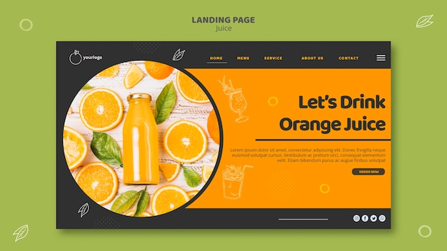 Modelo de página de destino de suco de laranja Psd grátis