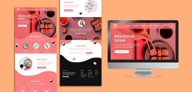 Modelo de página de destino de sushi delicioso Psd Premium