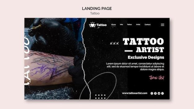 Modelo de página de destino de tatuador Psd grátis