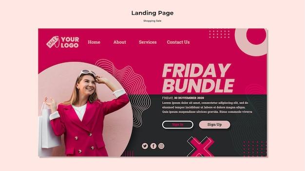 Modelo de página de destino de venda de compras Psd grátis