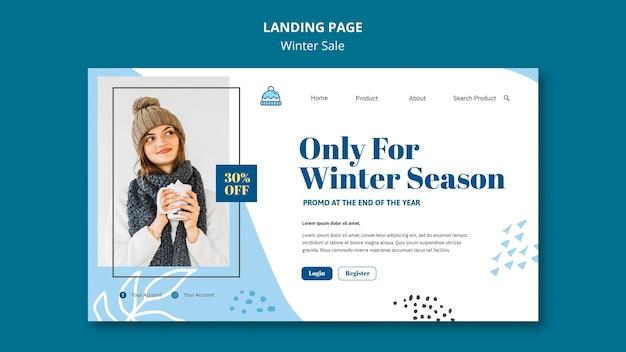 Modelo de página de destino de venda de inverno Psd grátis