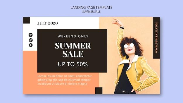 Modelo de página de destino de venda de verão Psd grátis