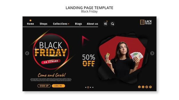 Modelo de página de destino do conceito black friday Psd grátis