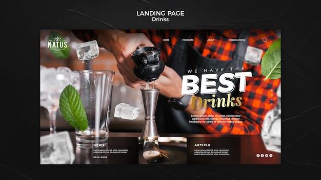 Modelo de página de destino do conceito de bebidas Psd grátis