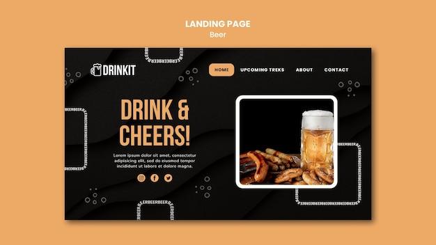 Modelo de página de destino do conceito de cerveja Psd grátis