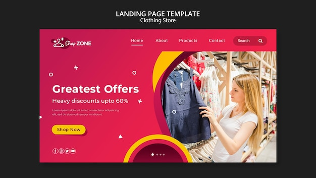 Modelo de página de destino do conceito de loja de roupas Psd Premium