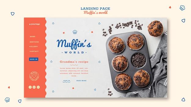 Modelo de página de destino do conceito de muffins Psd grátis