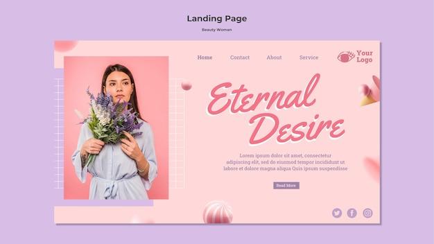 Modelo de página de destino do conceito de mulher bonita Psd grátis