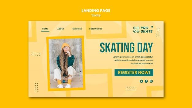 Modelo de página de destino do conceito de skate Psd grátis