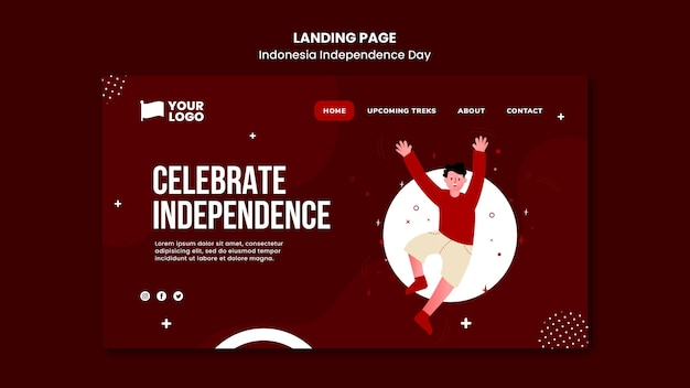 Modelo de página de destino do dia da independência da indonésia Psd grátis