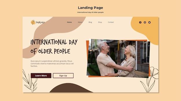 Modelo de página de destino do dia internacional dos idosos Psd grátis
