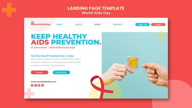 Modelo de página de destino do dia mundial da aids Psd Premium