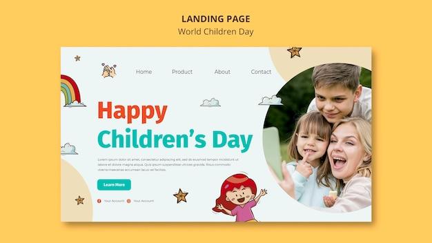 Modelo de página de destino do dia mundial da criança Psd Premium