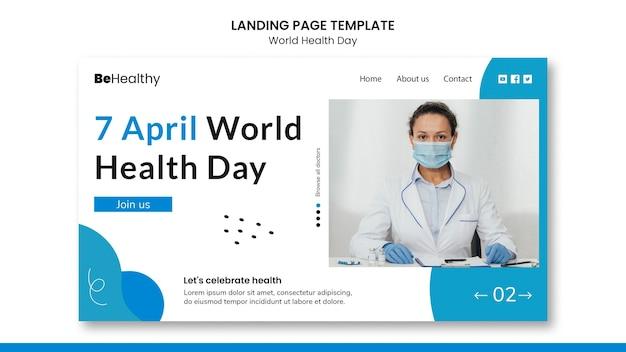 Modelo de página de destino do dia mundial da saúde Psd Premium