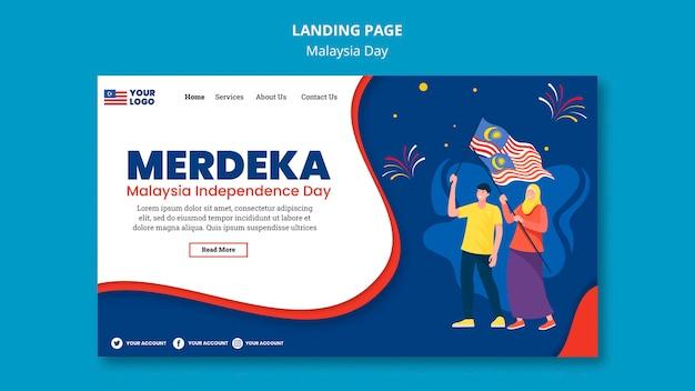 Modelo de página de destino para a celebração do aniversário do dia da malásia Psd grátis