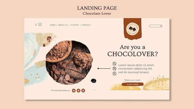 Modelo de página de destino para amantes de chocolate Psd Premium