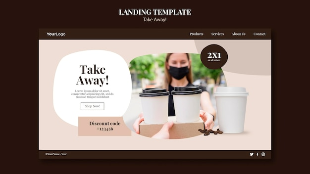 Modelo de página de destino para café para viagem Psd grátis