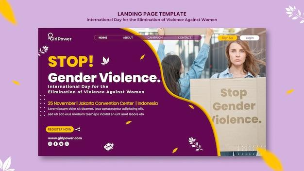 Modelo de página de destino para eliminação da violência contra mulheres Psd Premium