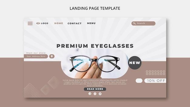 Modelo de página de destino para empresa de óculos Psd grátis