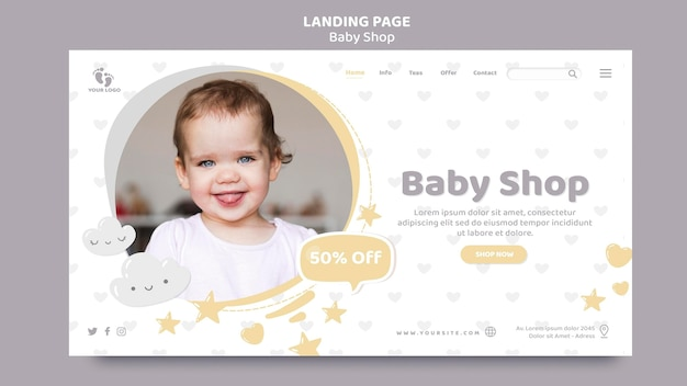 Modelo de página de destino para loja de bebês Psd Premium