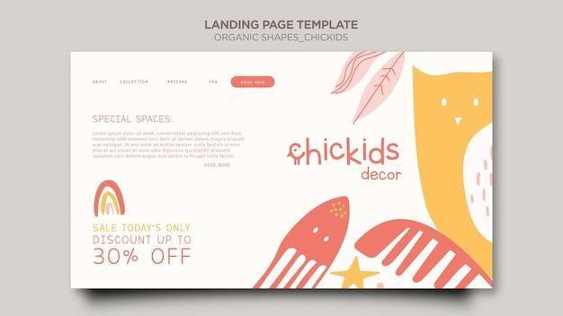 Modelo de página de destino para loja de decoração de interiores infantil Psd grátis