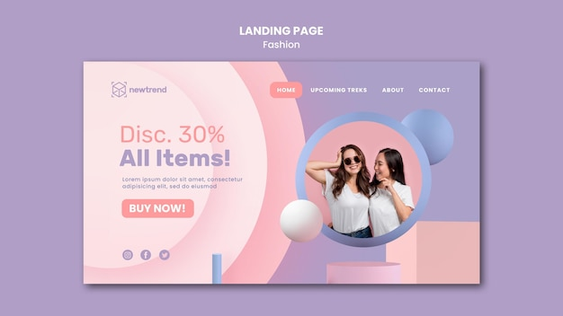 Modelo de página de destino para loja de varejo de moda Psd Premium