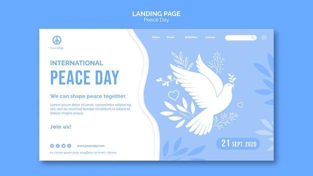 Modelo de página de destino para o dia da paz Psd grátis