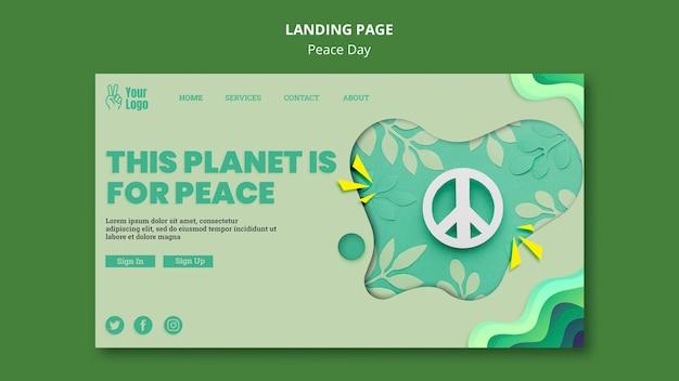 Modelo de página de destino para o dia internacional da paz Psd grátis
