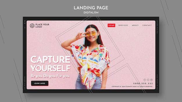 Modelo de página de destino para o tema capture a si mesmo Psd grátis