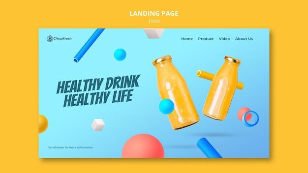 Modelo de página de destino para refrescante suco de laranja em garrafas de vidro Psd Premium