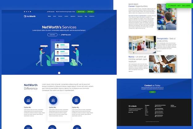 Modelo de página de site de serviços da net worth Psd Premium