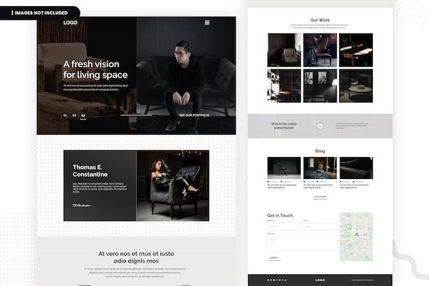 Modelo de página de site fresh vision for living space Psd Premium