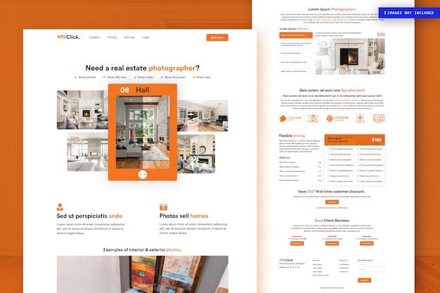 Modelo de página de site imobiliário Psd Premium