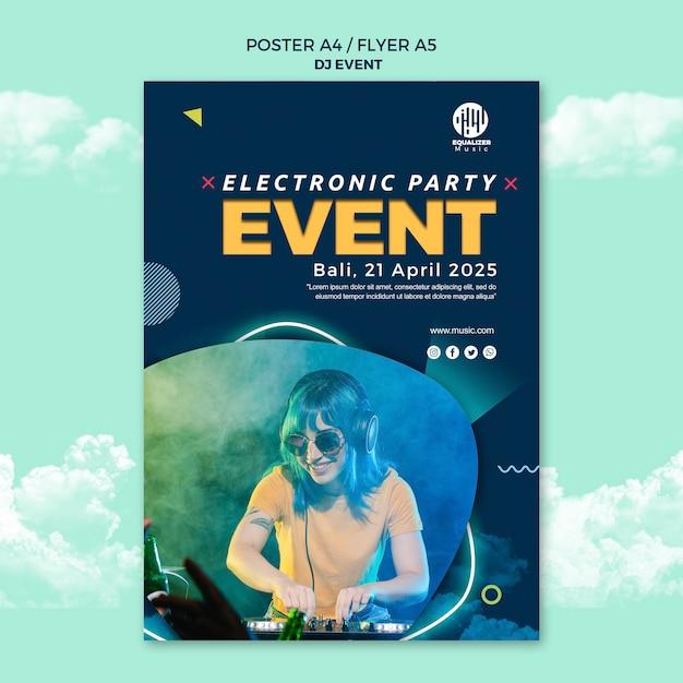 Modelo de panfleto de cartaz de conceito de festa de música Psd grátis