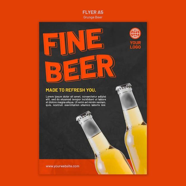Modelo de panfleto de cerveja grunge Psd grátis
