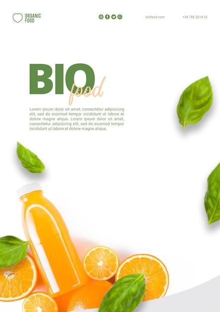 Modelo de panfleto de comida bio com foto Psd grátis
