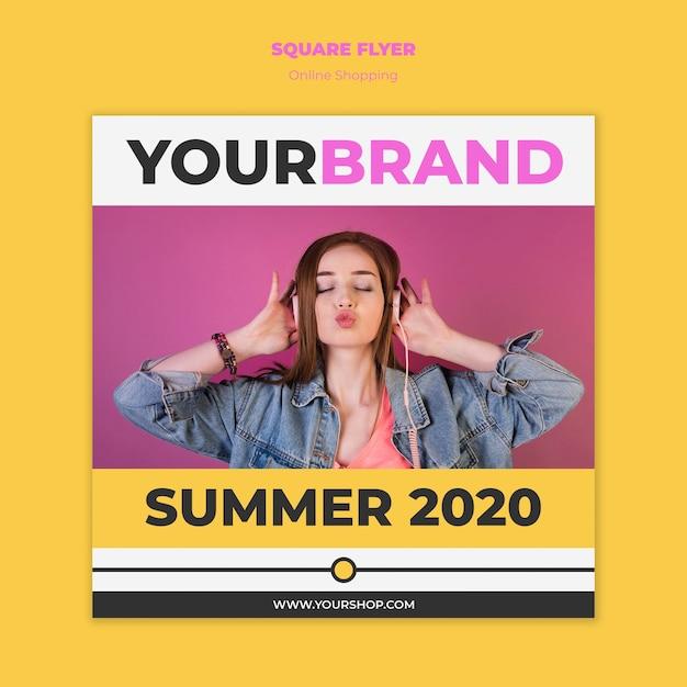 Modelo de panfleto de compras on-line de verão Psd grátis