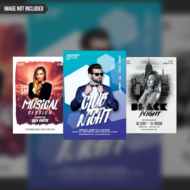 Modelo de panfleto de festa criativa 3 em 1 pacote Psd Premium