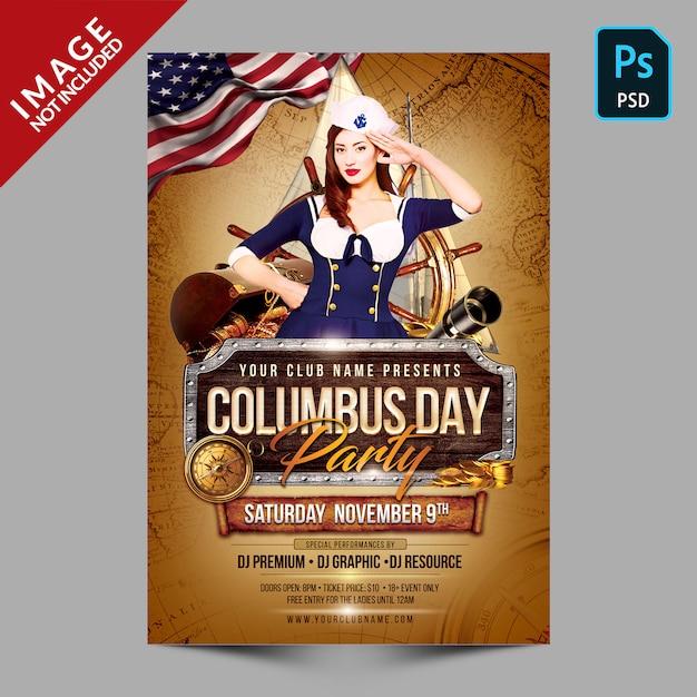 Modelo de panfleto de festa de dia de colombo Psd Premium