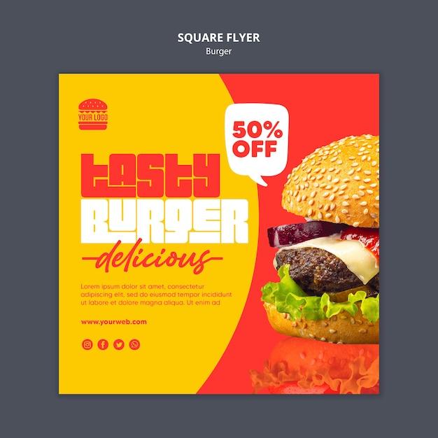Modelo de panfleto quadrado conceito de hambúrguer Psd grátis