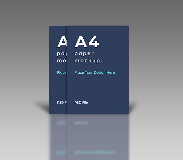 Modelo de papel a4 com sombra refletida Psd Premium