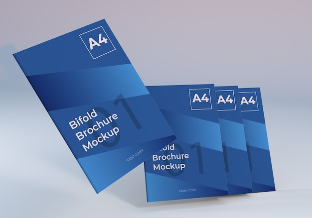 Modelo de papel de brochura a4 bifold flutuante Psd Premium